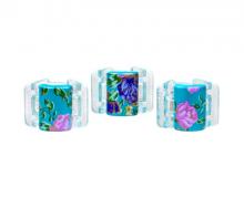 Linziclip MINI perleťově tyrkysový s květinami vlasový skřipec 3 ks