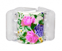 Linziclip MIDI perleťově bílý s květinami vlasový skřipec 1 ks