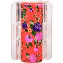 Linziclip MAXI perleťově oranžový s květinami vlasový skřipec 1 ks